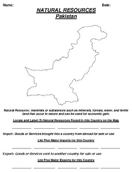 Pakistan Natural Resource Worksheet and Word search