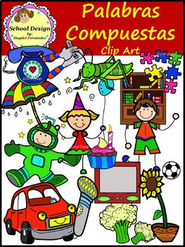 Palabras Compuestas Clip Art / Compound Words in Spanish (School Design)