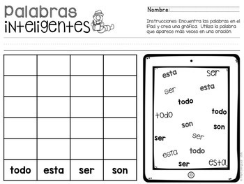 Palabras Inteligentes - {Spanish} High Frequency Words Find and Graph