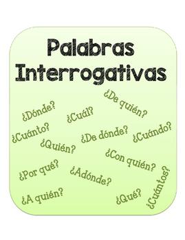 Palabras Interrogativas. Question Words Packet.