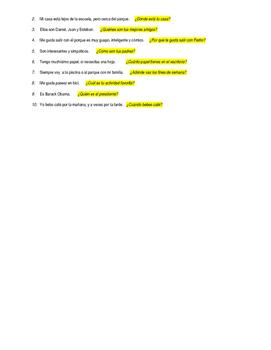 Palabras Interrogativas/Question words listening activity