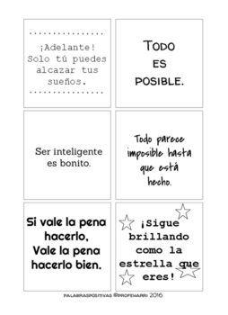 Palabras Positivas for 3x3 Sticky Notes