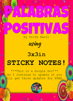 Palabras Positivas for 3x3 Sticky Notes