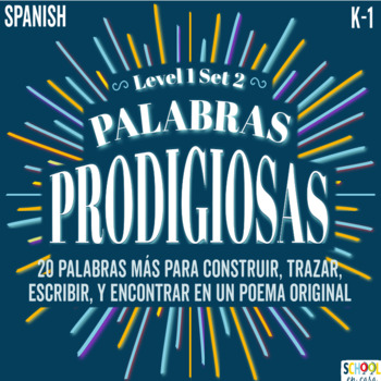 palabras prodigiosas bundle level 1 set 2 word work word wall spanish