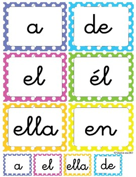Palabras Prodigiosas Word Wall Cards Level 1 Set 1 [Spanish Sight Words]
