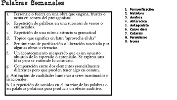 Palabras Semanales for AP Spanish Literature
