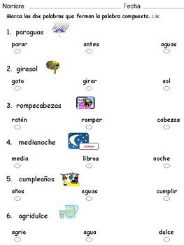 Palabras compuestas ejercicios