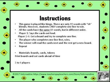 """Palabras con """"ch"""" en un juego de bingo - Words with Ch in Spanish Bingo"""