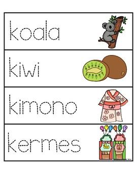 Palabras con la letra Kk