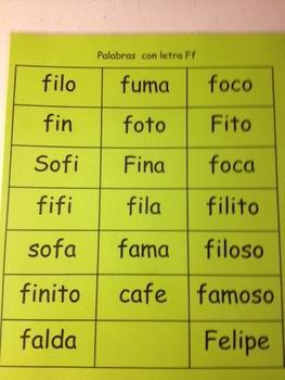 Palabras con letra Ff