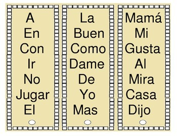 Palabras de Alta Frecuencia - Sight Words in Spanish