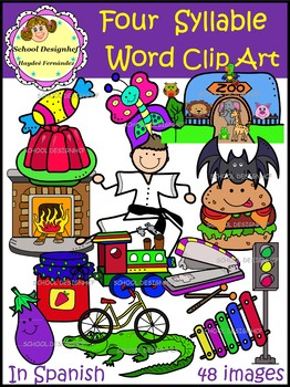Palabras de Cuatro Sílabas-ClipArt /Four Syllable Word ClipArt(School Designhcf)