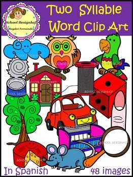 Palabras de Dos Sílabas Clip Art / Two Syllable Word Clip Art(School Designhcf)