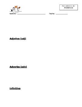 Palabras de Gramática (Grammar Terms) Blank Notes