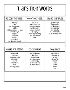 English & Spanish Transition words