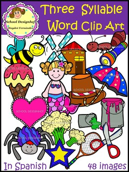 Palabras de Tres Sílabas - ClipArt/Three Syllable Word ClipArt(School Designhcf)