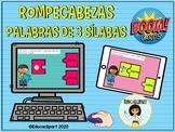 Sílabas - Palabras de Tres Sílabas - Rompecabezas (Boom Cards)