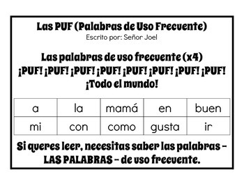 Palabras de Uso Frecuente (Spanish Immersion High Frequenc
