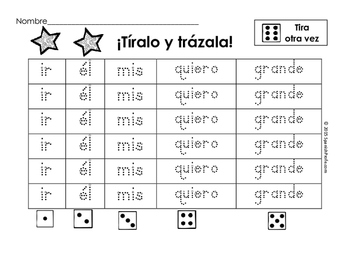 Palabras de alta frecuencia- Practica de escribir con dado (Spanish Roll Dice)