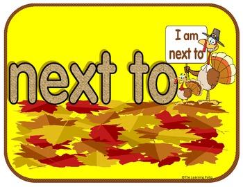 Palabras de posición Position words Thanksgiving theme