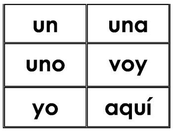 Palabras de uso frecuente Kindergarten