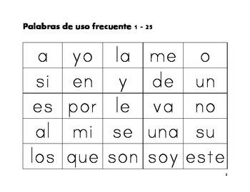 Palabras de uso frecuente en espanol.