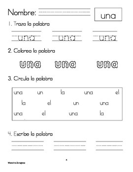 Palabras de uso frecuente (high frequency words in Spanish)