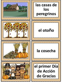 Thanksgiving Spanish Word Wall Cards and Vocabulary Activities