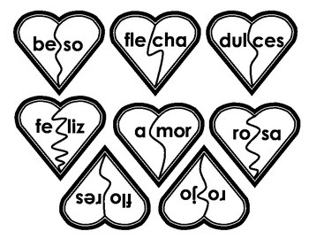 Palabras del Dia de San Valentin: Corazones Rotos (2 silabas)