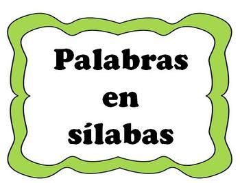Palabras en Sílabas (2, 3, 4, y 5 sílabas)