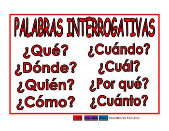 Palabras interrogativas/Modificadores rojo