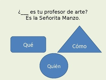 Palabras interrogativas Question words in Spanish interactive power point