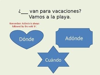 Palabras interrogativas Question words in Spanish interactive power point