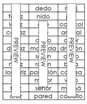 Palabras plurales -s, -es, -ces (36 words)