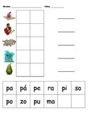 Palabras por silabas con la P