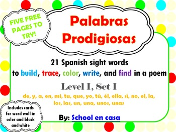 Palabras prodigiosas | FREE SAMPLE Spanish sight word work Level I
