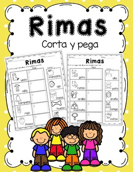 Rimas/ Palabras que riman -corta y pega/ Rhyming Words in Spanish cut and paste