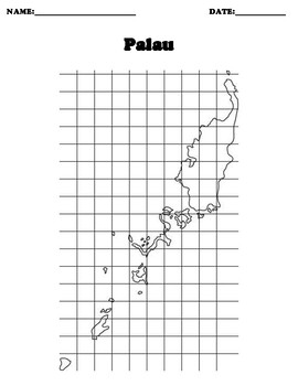 Palau Coordinate Grid Map Blank
