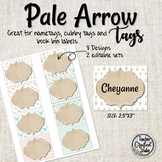 Pale Arrow Editable Cubby Tags | Name Tags | Book Bin Labels
