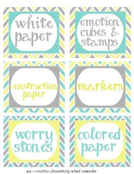 Pale Yellow, Tiffany Blue and Gray - Chevron Bin Labels