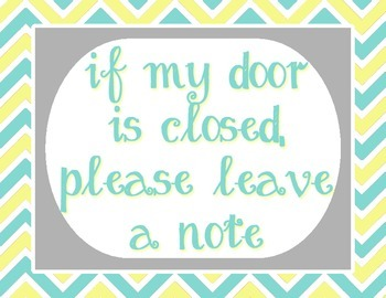 """Pale Yellow, Tiffany Blue and Gray - Please Leave a Note - 8.5""""x11"""""""