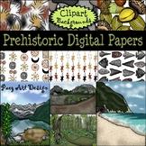 Prehistoric Digital Papers & Background CLIPART {Paez Art Design}