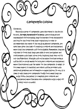 Paleolithic Cookbook and Menu Project