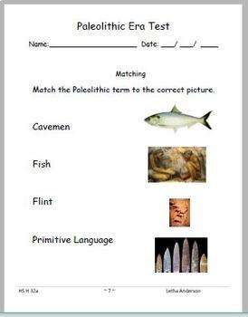 Paleolithic Era HS-H 32  VAAP High School Visual Helper Autism Assessment