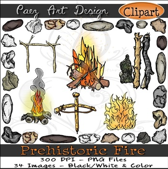 Prehistoric Fire CLIPART {Paez Art Design}
