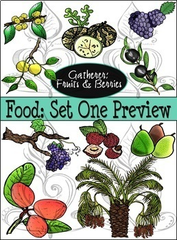 Paleolithic Food (Set One): Gatherer- Fruits & Berries {CLIPART}