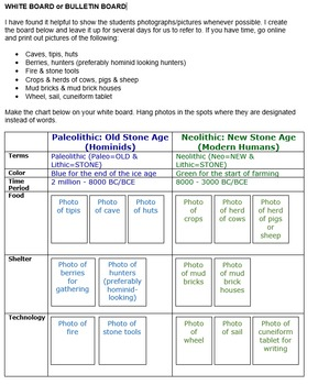 Paleolithic & Neolithic Chart & Timeline