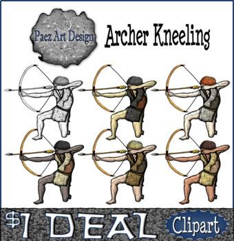 Paleolithic People CLIPART: Archer Kneeling {Paez Art Design}