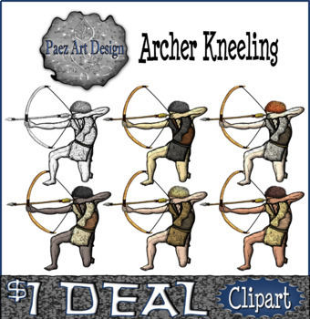 Prehistoric People CLIPART: Archer Kneeling {Paez Art Design}