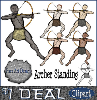 Prehistoric People CLIPART: Archer Standing {Paez Art Design}